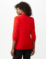 Open Front Collarless Cardigan With Ruched Sleeve - Misses - Infared - Back
