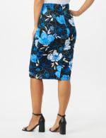 Scuba Crepe Etched Floral Print Skirt - Blue - Back