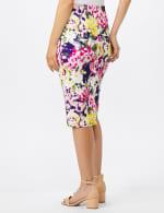 Scuba Crepe Rose Floral Print Skirt - Rose - Back