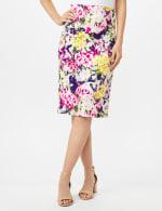 Scuba Crepe Rose Floral Print Skirt - Rose - Front