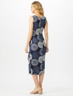 Sleeveless Side Tie Faux Wrap Medallion Print Dress - Navy - Back