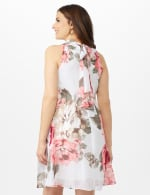 Sleeveless Chiffon Large Flower Mock Neck Dress - Misses - Grey/Blush - Back