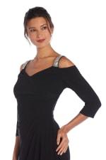 Cold Shoulder Embellished Strap Long Gown - Black - Detail
