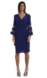 Illusion Bell Sleeve Dress with Rush Rhinestone Detail at Waist - Electric Blue - Front