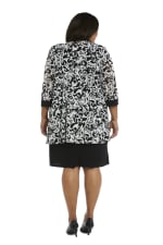 Scroll Mesh  Jacket with Sheath Dress - Plus - Black/White - Back