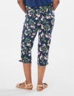 Printed Pull on Pants Tie Hem Capri - Navy Bouquet - Back