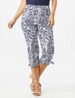 Printed Pull on Pants Tie Hem Capri - Navy/White - Front