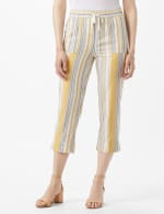 Striped Pull On Drawstring Crop - Gold Stripe - Front