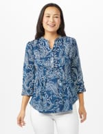 Pintuck Puff Popover Roll tab Sleeves - Denim - Front
