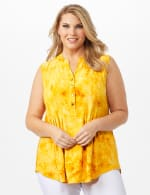 Sleeveless Gold Jaquard Popover Plus - Gold - Front