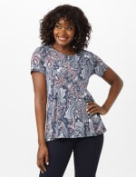 Puff Print Fit and Flare Knit Top - Misses - Navy - Front