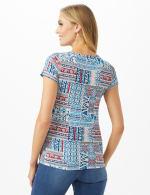 Patchwork  Asymmetrical Side Cinch Knit Top - Petite - Blue - Back
