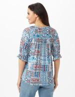 Patchwork Peasant Knit Top - Misses - Blue - Back