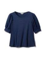 Scoop Puff Sleeve Knit Top - Navy - Front