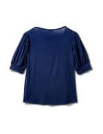 Scoop Puff Sleeve Knit Top - Navy - Back