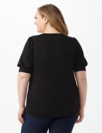 Puff Sleeve Knit Top - Black - Back