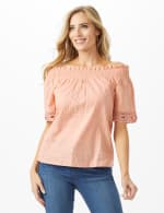 Eyelet Woven Peasant Top - Pink - Front