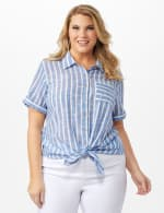 Dressbarn Lurex Stripe 1 Pocket Shirt - Plus - Blue - Front