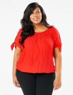 Smocked Peasant Grommet Tie Sleeve Top - Plus - Red - Front
