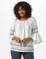 Westport Bell Sleeve Border Tunic - Misses - Ivory - Front