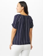 Stripe Texture Bubble Hem Blouse - Navy/White - Back