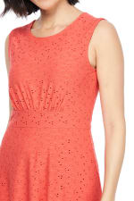 Evelyn Embroidered Jersey Inset Waist Dress - Coral - Detail