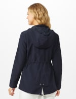 Dry Nylon Hooded Zip Front Utility Jacket with 4 Cargo Pockets and Drawcord - Navy - Back