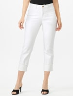 Authentic Stretch Straight Leg Denim Pants with High Fray Cuff - White - Front