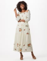 Embroidered Textured Peasant Dress - Ivory - Front