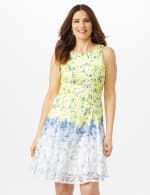 Sleeveless Ombre Floral Lace Dress - Yellow/Blue - Front