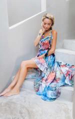 Juliette Rainbow Snakeskin Dress - Rainbow - Front