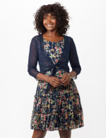 Sleeveless Ditsy Flounce Dress - 1