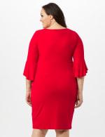 3/4 Flutter Sleeve Wrap Dress - Apple Red - Back