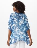 Crochet Trim Woven Tunic - blue - Back