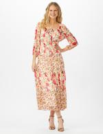 Mixed Ditsy Print Tiered Maxi Peasant Dress - 1