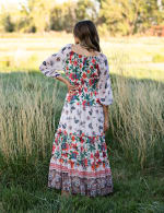Border Print Tiered Maxi Peasant Dress - Nude/Orange - Back