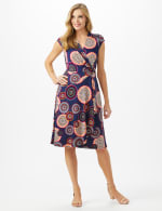 Cap Sleeve Medallion Print Faux Wrap D Ring Dress - Navy/Red - Front