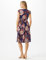Cap Sleeve Medallion Print Faux Wrap D Ring Dress - Navy/Red - Back