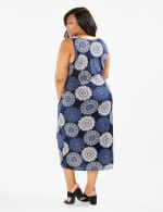 Side Tie Faux Wrap Medallion Dress - Navy - Back