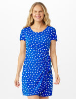 Dot Faux Wrap  Side Tie Dress - Petite - Royal - Front