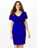 Cascade Ruffle Neck Shirred Waist Dress - 1