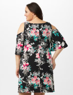 Cold Shoulder Elbow Sleeve Etched Floral Dress - Black - Back