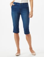 Goddess Fit Mid Rise Pedal Pusher Skinny - Medium Stone Wash - Front