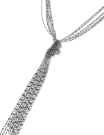 Shot Bead Knotted Tassel Necklace - Silver Plating - Front