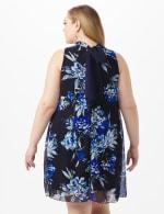 Sleeveless Chiffon Puff Print Flower Mock Neck Dress - Navy - Back