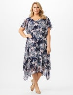 Floral Chiffon Drape Neck Hanky Hem Dress - Plus - Navy/Mauve - Front