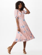 Short Tie Sleeve Blue Flower Empire Dress - Blush/Ivory - Front