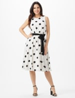 Round Neck Large Dot With Soft Belt Dress - White/Black - Front