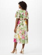V-Neck Chiffon Jacquard Botanical Floral Dress - Ivory/Rose - Back