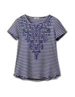 Screen Print Stripe Rib Tee - Navy - Front